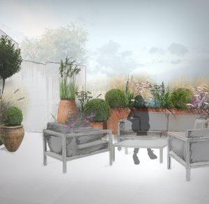 takterrasse plantedesign med krukker og plantekasser